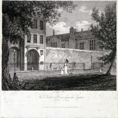 View of Charterhouse from the Square with Figures, Finsbury, London, 1804