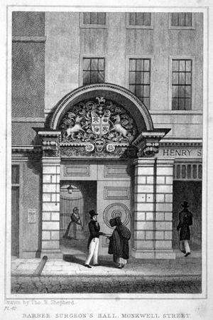 Entrance to Barber Surgeons' Hall, City of London, 1830