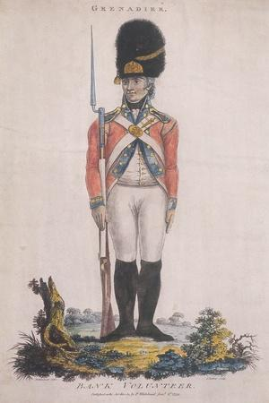 Grenadier in the Bank Volunteers, Holding a Rifle with a Bayonet Attached, 1799