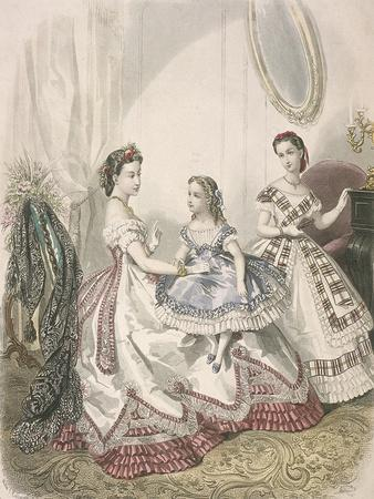 Two Women and a Small Girl Wearing the Latest Indoor Fashions, C1860
