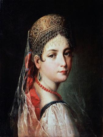 Portrait of a Young Woman in Sarafan and Kokoshnik, 1820s