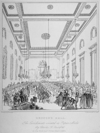 Interior of Grocers' Hall During a Banquet, City of London, 1830