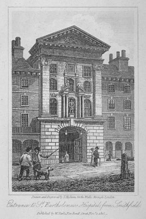 View of the Entrance of St Bartholomew's Hospital from Smithfield, City of London, 1816