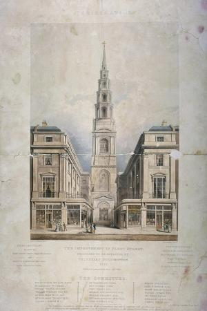 View of St Bride's Avenue Including the Premises of Pitman and Ashfield, City of London, 1825