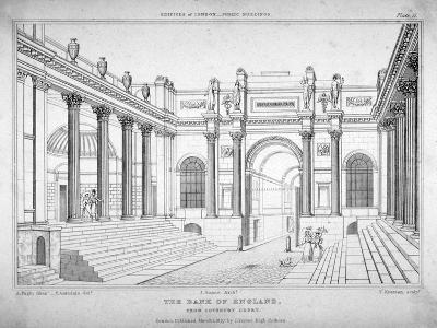 View of the Bank of England from Lothbury Court, City of London, 1827