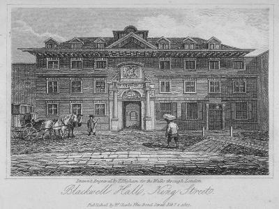 View of Blackwell Hall on King Street with Carriage and Figures, City of London, 1817