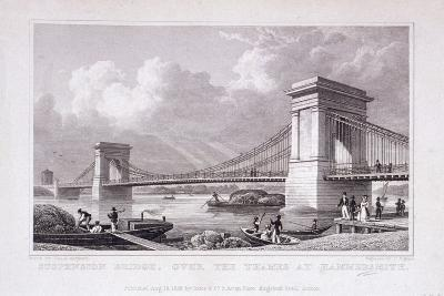 Hammersmith Bridge with Water Vessels on the River Thames, Hammersmith, London, 1828