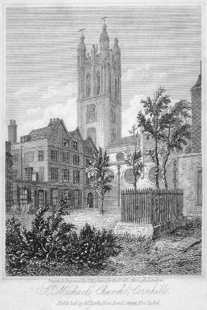 View from the South of Church of St Michael, Cornhill, City of London, 1816