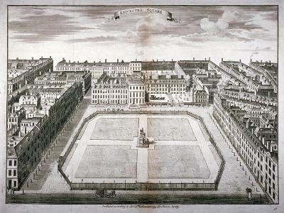 Aerial View of Leicester Square with Carriages, Westminster, London, 1754