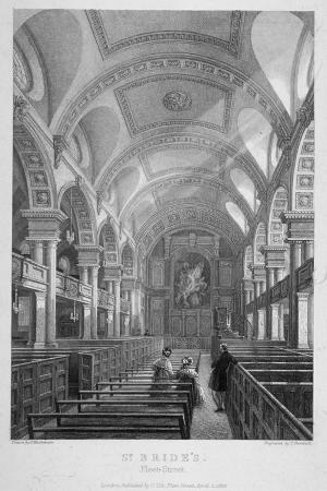 St Bride's Church, Fleet Street, City of London, 1839