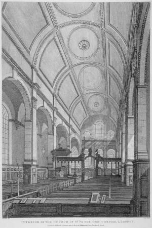 Interior of the Church of St Peter Upon Cornhill Looking East, City of London, 1825