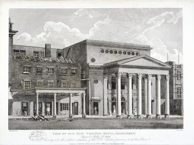 View of the Haymarket Theatre, Westminster, London, 1822