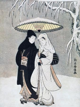 Crow and Heron, or Young Lovers Walking Together under an Umbrella in a Snowstorm, C1769