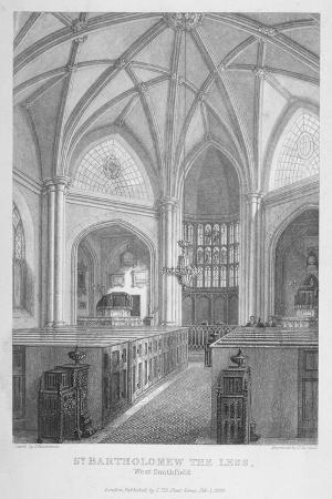 Interior of the Church of St Bartholomew-The-Less, City of London, 1839