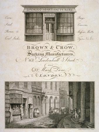 Shop Front of Brown and Crow, Sacking Manufacturers, 32 Mark Lane, City of London, 1800
