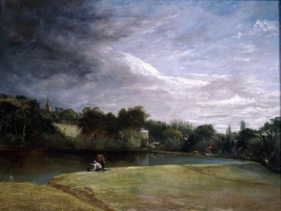 Boys Fishing in a Reservoir Near Hampstead