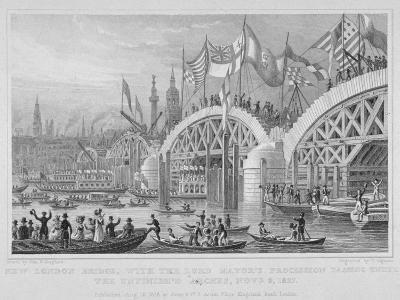 London Bridge, with the Lord Mayor's Procession Passing under the Unfinished Arches, 1827