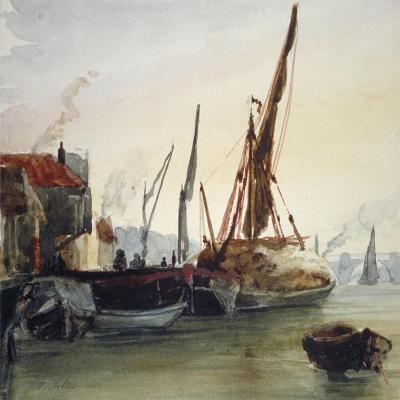 View of Boats Moored on the River Thames at Bankside, Southwark, London, C1830