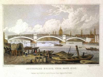Southwark Bridge from Bank Side, London, 1817
