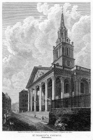 Church of St Martin in the Fields, Westminster, London, 1810