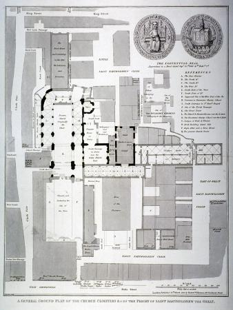 Ground Plan of St Bartholomew's Priory, Smithfield, City of London, 1821