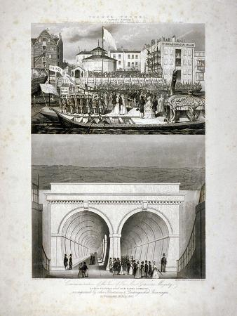 Two Views of the Thames Tunnel, Commemorating the Visit by Queen Victoria, London, 1843