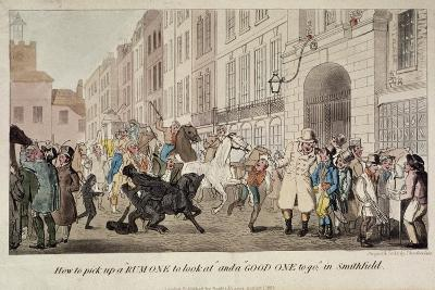 People Bargaining for Mounts at West Smithfield, London, 1825