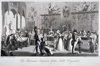 Interior View of the Automaton Exhibition in the Gothic Hall, Haymarket, London, 1826