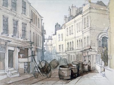 Bread Street Hill and St Nicholas Olave Churchyard, City of London, C1850