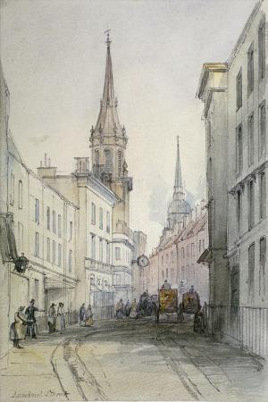 View Along Lombard Street, Looking East, with Figures and Carriages, City of London, 1851