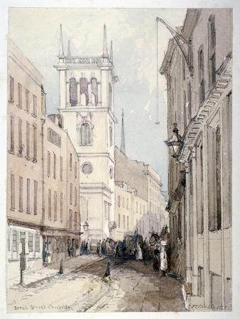 View of All Hallows Church, Buildings and Figures on Bread Street, City of London, 1851