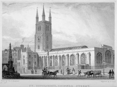 View of St Sepulchre Church, Skinner Street, City of London, 1830