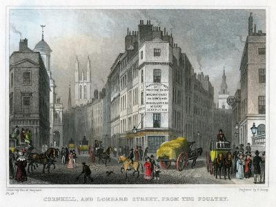 Cornhill and Lombard Street from Poultry, City of London, 1830
