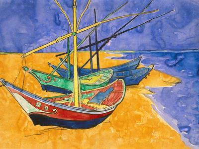 Boats on the Beach of Les-Saintes-Maries, 1888