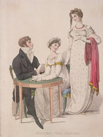 Two Women and a Man Wearing Full Evening Dress, C1810