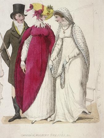 Two Women Wearing Walking Dresses Accompanied by a Man, C1810