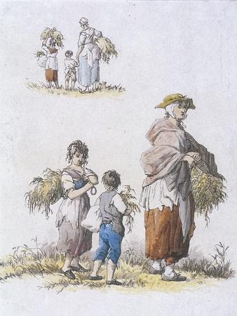 Women and Children Gleaning, Provincial Characters, 1802