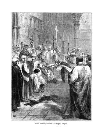 King John (1167-121) Kneeling before the Pope's Legate, 1213