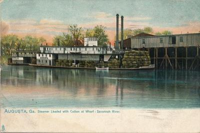Steamer Loaded with Cotton at a Wharf, Savannah River, Augusta, Georgia, 1908