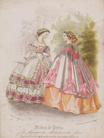 Two Women Wearing the Latest Fashions, 1859
