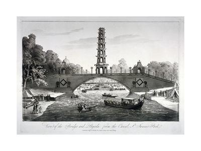 Chinese Bridge and Pagoda, St James's Park, Westminster, London, 1814