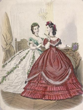 Two Women Wearing the Latest Indoor Fashions, C1850