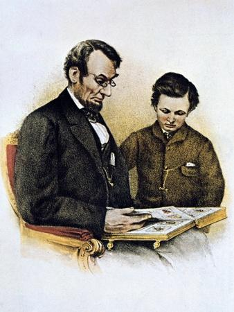 Abraham Lincoln and His Son Tad, 9 February 1864