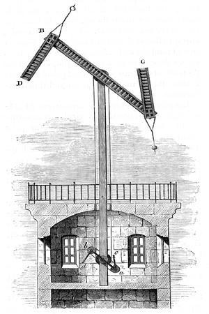 Sectional View of a Telegraph Tower for Claude Chappe's Semaphore, 1792