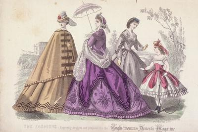 Three Women and a Child Wearing the Latest Fashions, 1864