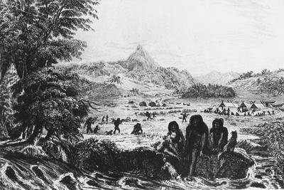 Fuegians at Woollya, with the Fitzroy Expedition's Camp in the Background, 1831