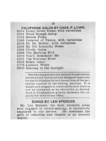 Page from the First Columbian Gramophone Catalogue, C1898