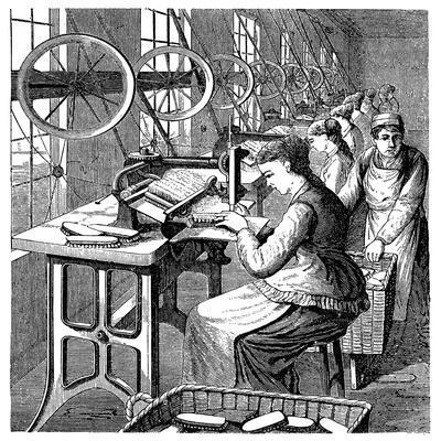Women Securing Bristles in Brushes Using Woodbury's Machine, Late 19th Century