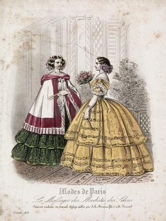 Two Women Wearing the Latest Fashions, 1858