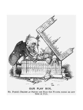 Our Play Box. Mr Punch's Delight at Finding His Dear Old Puppets Where He Left Them in July, 1865